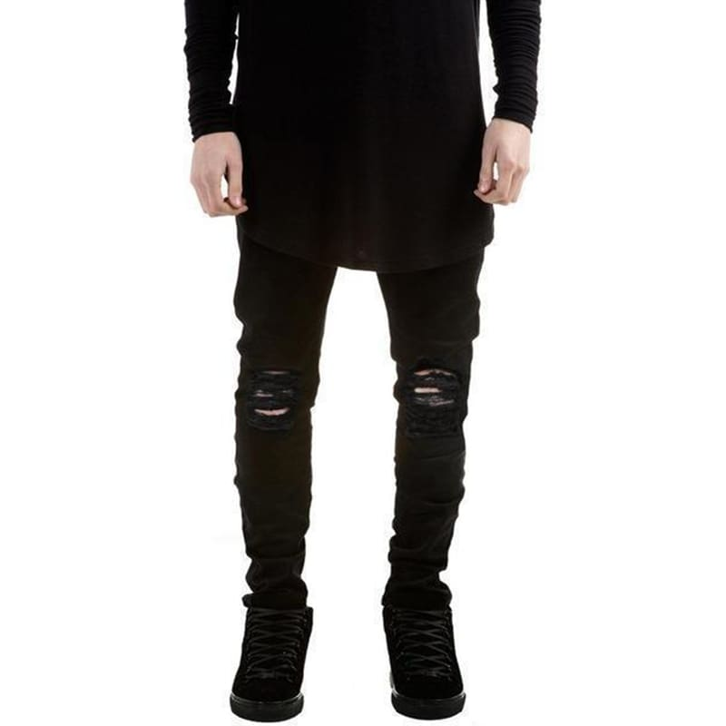 Black Destroyed Denim Jeans | Streetgarm