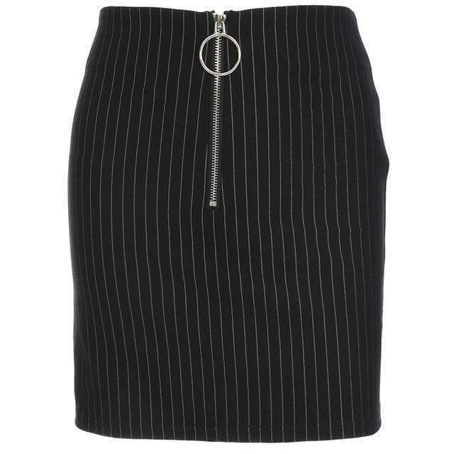 Black Pin Stripe Mini Skirt | S - Streetgarm