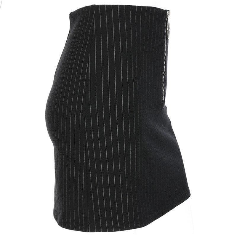 Black Pin Stripe Mini Skirt | Streetgarm