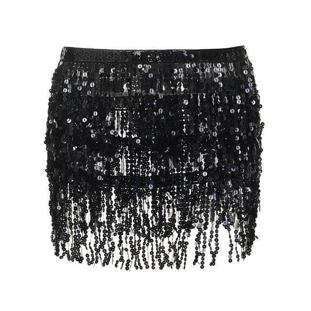 Black Sequin Tassel Skirt | One Size - Streetgarm