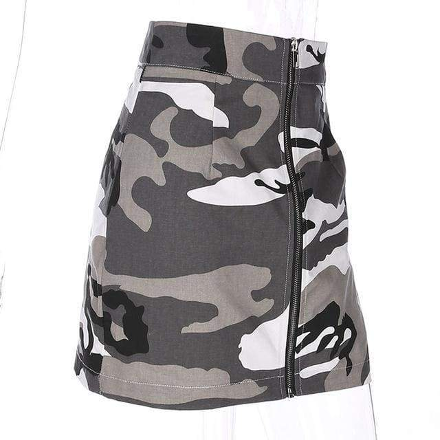 Camo Mini Skirt - Grey | S - Streetgarm