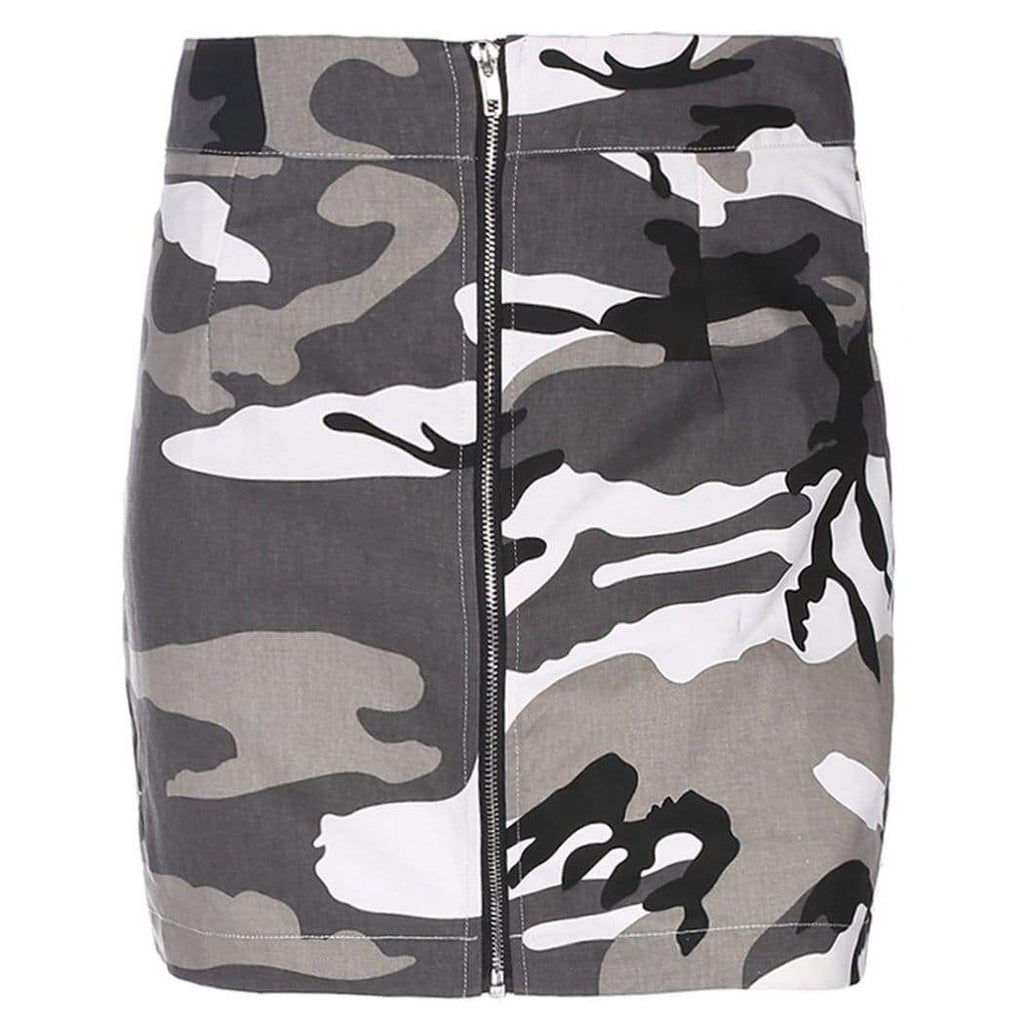 Camo Mini Skirt - Grey | Streetgarm