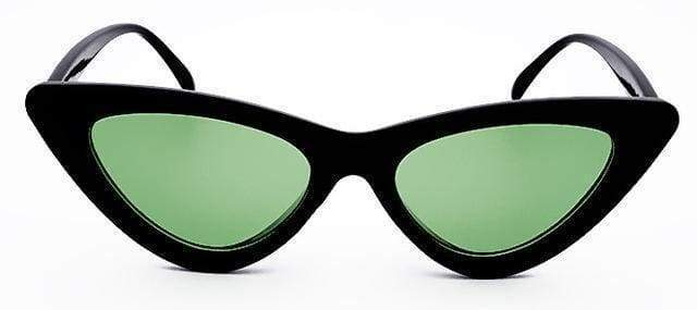Cat Eye Sunglasses | Black Frame Green - Streetgarm
