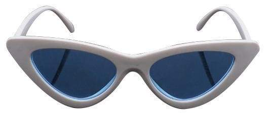 Cat Eye Sunglasses | White Frame Blue - Streetgarm