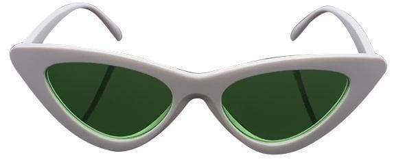 Cat Eye Sunglasses | White Frame Green - Streetgarm