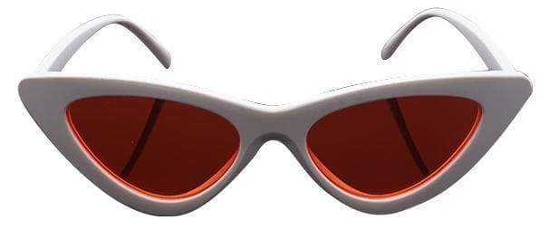 Cat Eye Sunglasses | White Frame Red - Streetgarm