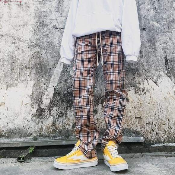 Checkered Pants - Orange | Streetgarm