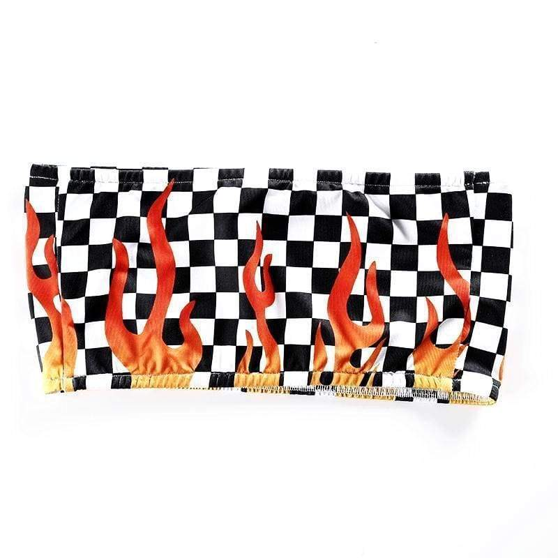 Fire Checkerboard Tube Top | Streetgarm