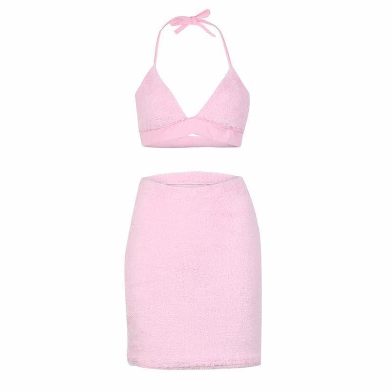 Furry Pink Two Piece | Streetgarm