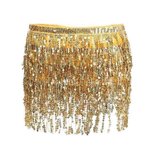 Gold Sequin Tassel Skirt | One Size - Streetgarm