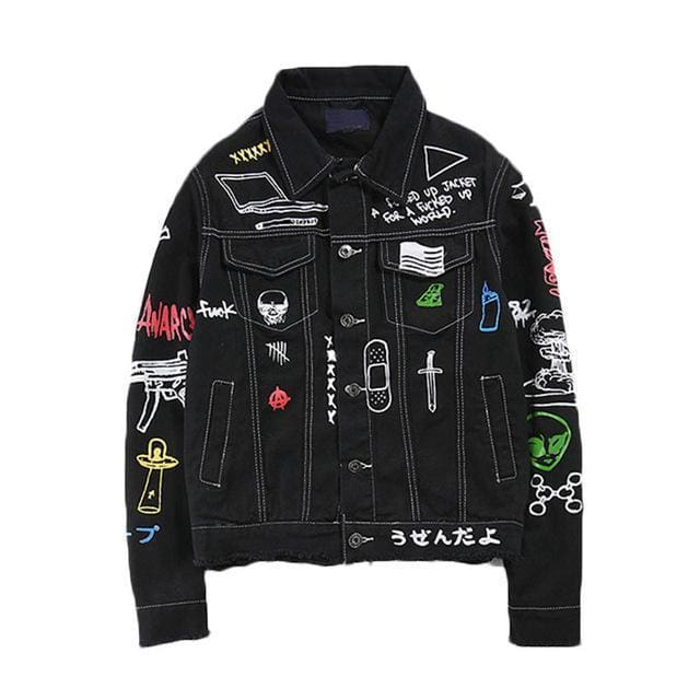 Graffiti Denim Jacket | Black / S - Streetgarm