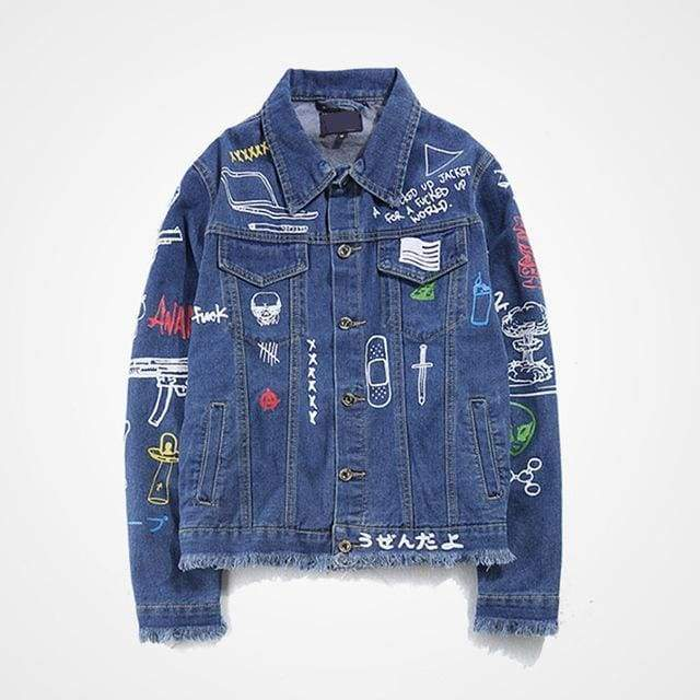 Graffiti Denim Jacket | Blue / S - Streetgarm