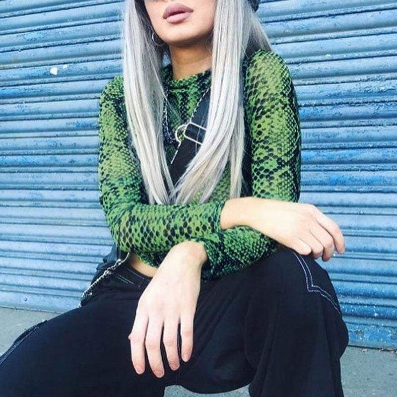 Green Snake High Neck Mesh Long Sleeve Crop Top | Streetgarm