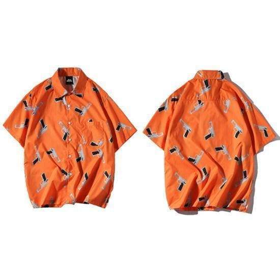 Gun Print Shirt | Orange / M - Streetgarm