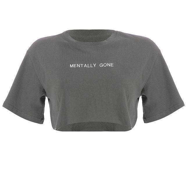 Mentally Gone Cropped T-Shirt | Grey / L - Streetgarm