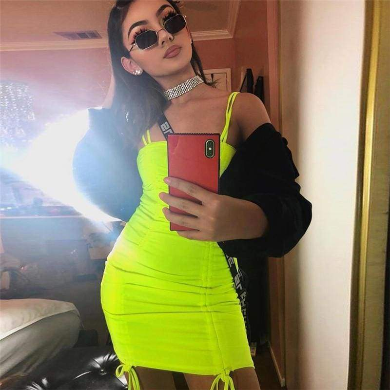 Neon Ruched Strappy Mini Dress