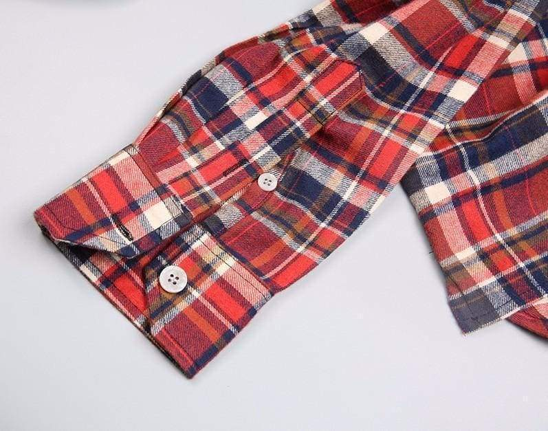 Plaid Flannel Shirt - Red | Streetgarm