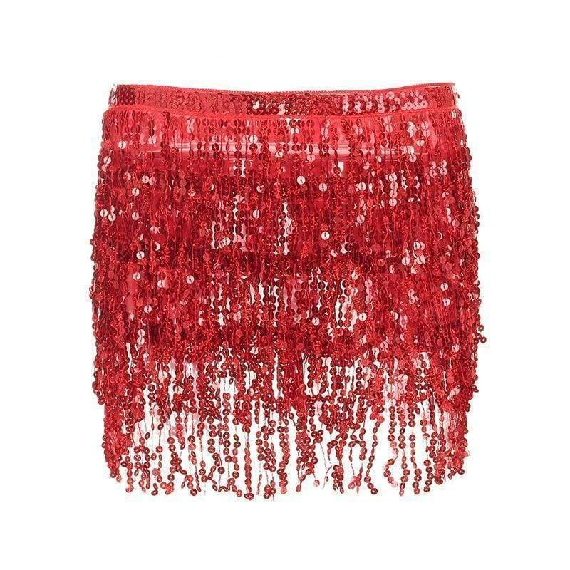Red Sequin Tassel Skirt | One Size - Streetgarm