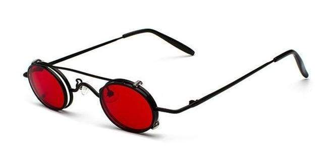 Retro Metal Clip Sunglasses | Black Frame Red - Streetgarm