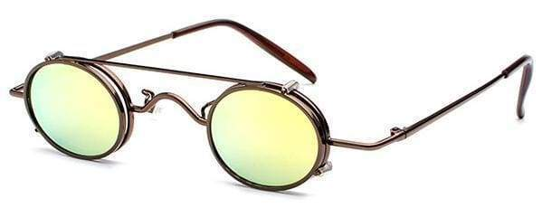 Retro Metal Clip Sunglasses | Brown Frame Gold - Streetgarm