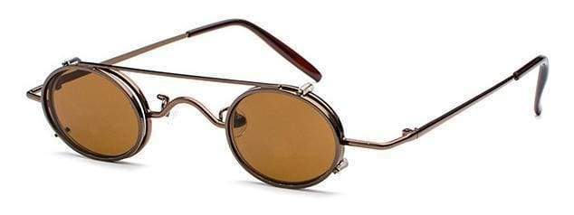 Retro Metal Clip Sunglasses | Brown Frame - Streetgarm