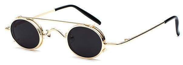 Retro Metal Clip Sunglasses | Gold Frame Black - Streetgarm