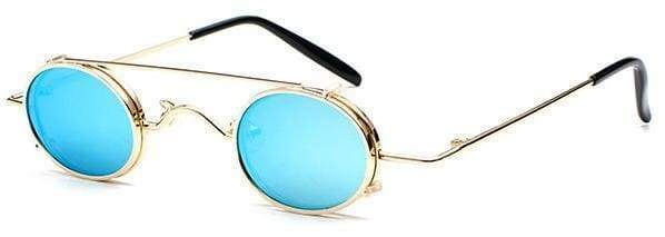 Retro Metal Clip Sunglasses | Gold Frame Blue - Streetgarm