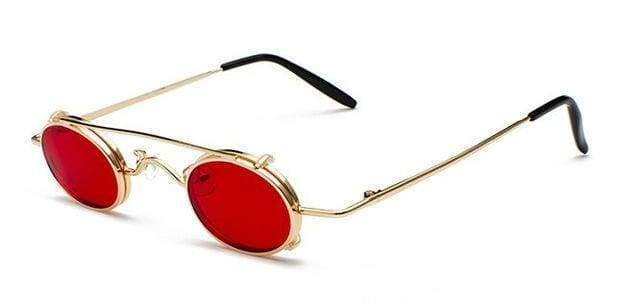 Retro Metal Clip Sunglasses | Gold Frame Red - Streetgarm
