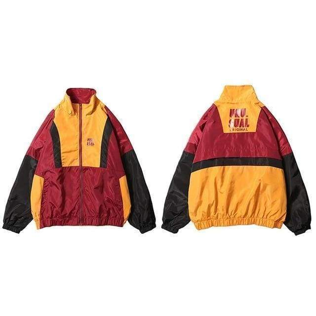 Retro Zip Track Jacket | Red / L