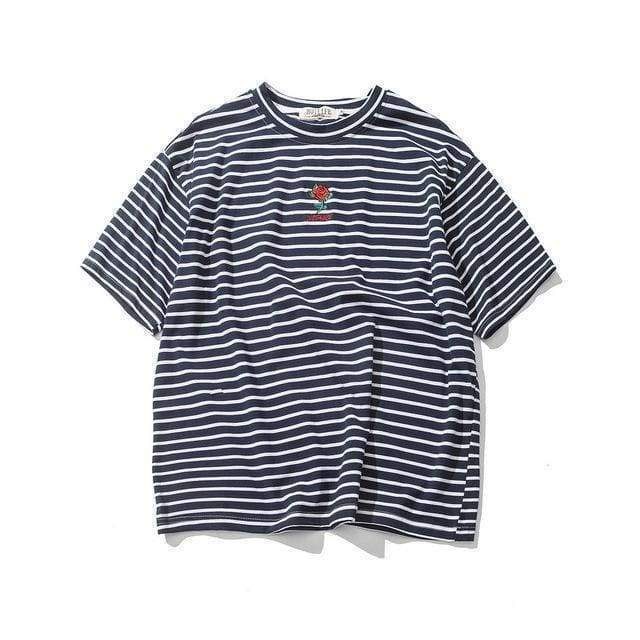 Rose Striped T-Shirt | Black / S - Streetgarm