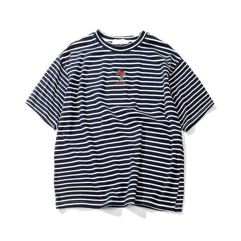 Rose Striped T-Shirt | Streetgarm