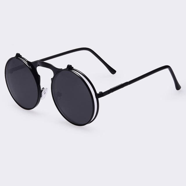 Round Flip Sunglasses | All Black - Streetgarm
