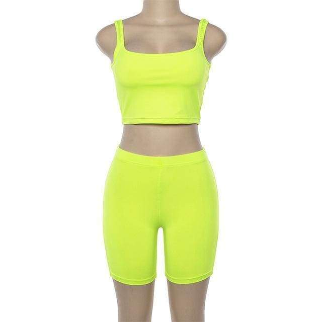 Stretch Crop Top + Race Shorts | Green / S - Streetgarm