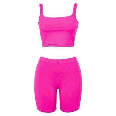 Stretch Crop Top + Race Shorts | Pink / S - Streetgarm