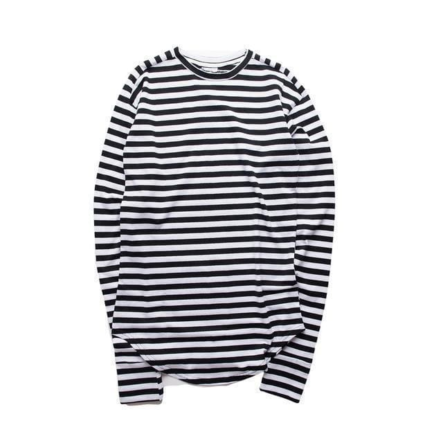 Striped Long Sleeve T-Shirt | Medium stripe black / S - Streetgarm