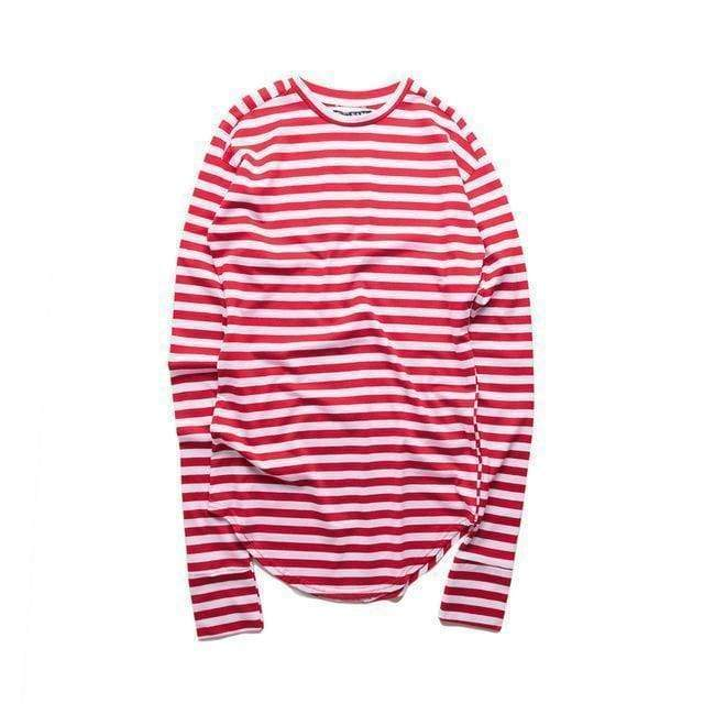 Striped Long Sleeve T-Shirt | Medium stripe red / S - Streetgarm
