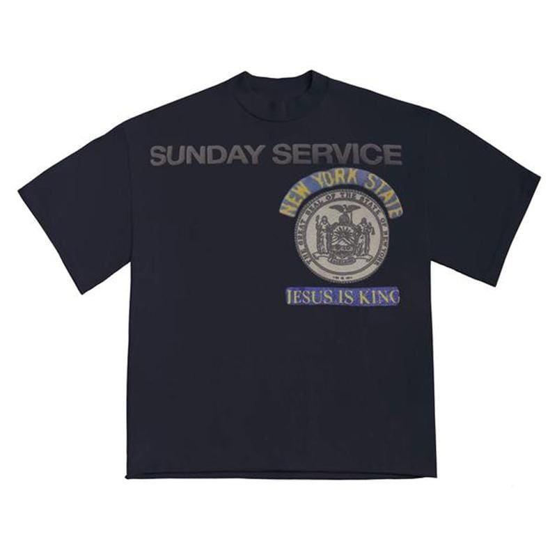 Sunday Service New York Jesus Is King T Shirt - Navy | Streetgarm