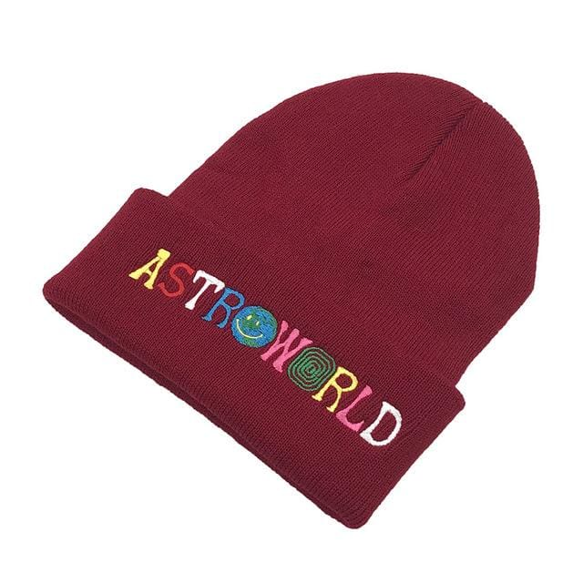 Travis Scott Astroworld Beanie | Burgundy - Streetgarm