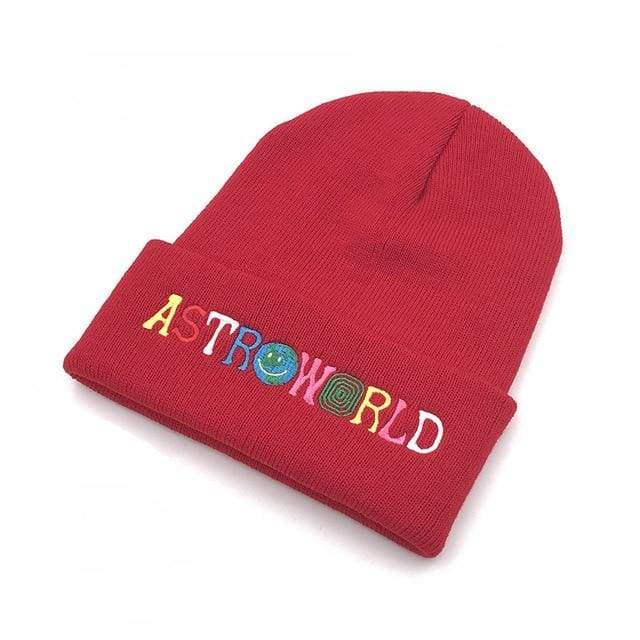 Travis Scott Astroworld Beanie | Red - Streetgarm