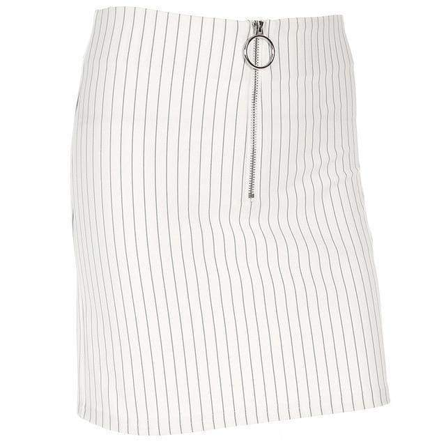 White Pin Stripe Mini Skirt | S - Streetgarm