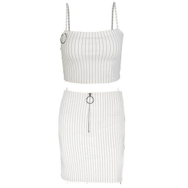 White Pin Stripe Mini Skirt | Streetgarm