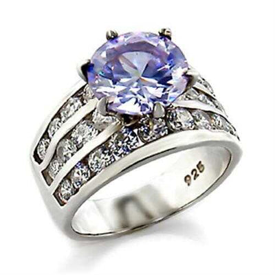03614 - 925 Sterling Silver Ring High-Polished Women AAA Grade CZ Light Amethyst - Romance Keeper