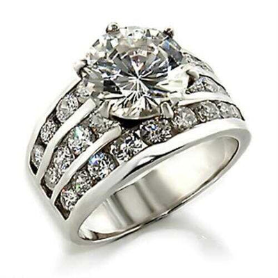03625 - 925 Sterling Silver Ring High-Polished Women AAA Grade CZ Clear - Romance Keeper