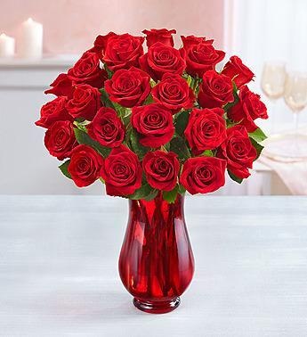 1-800-Flowers Two Dozen Red Roses with Red Vase - Romance Keeper