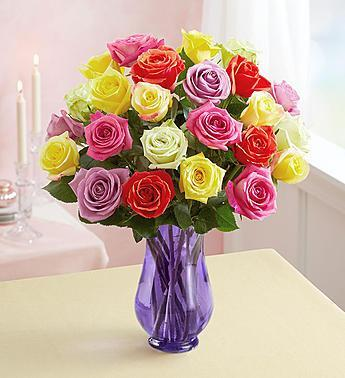 1-800-Flowers Two Dozen Assorted  Roses with Purple Vase - Romance Keeper