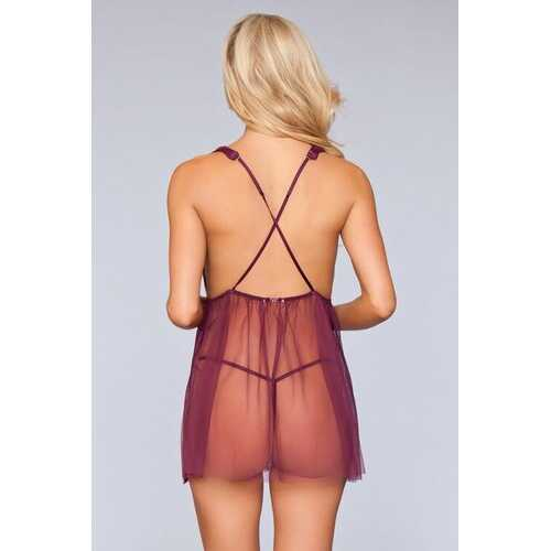 1801 Sweet Dreams Babydoll Burgundy - Romance Keeper