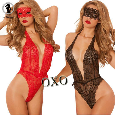 2017 valentine's day sexy lingerie hot Red black lace deep_v neck teddy sexy erotic underwear lingerie lenceria sexy costumes - Romance Keeper (820611645483)