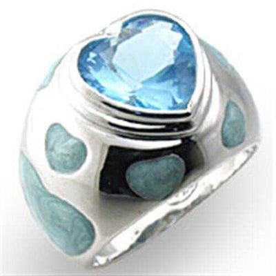 33923 - 925 Sterling Silver Ring High-Polished Women Synthetic Sea Blue - Romance Keeper