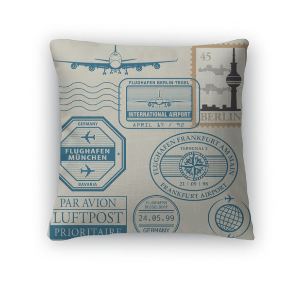 Throw Pillow, Travel Stamps Set