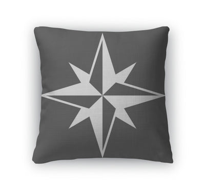 Throw Pillow, Wind Rose Solid Icon Navigation And Travel - Romance Keeper